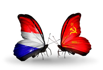 Two butterflies with flags Holland and Soviet Union