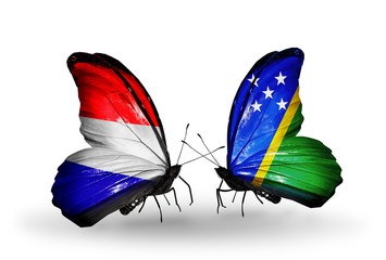 Two butterflies with flags Holland and Solomon Islands