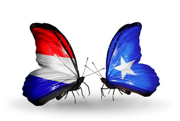 Two butterflies with flags Holland and Somalia