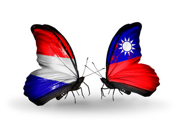 Two butterflies with flags Holland and Taiwan