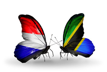 Two butterflies with flags Holland and Tanzania
