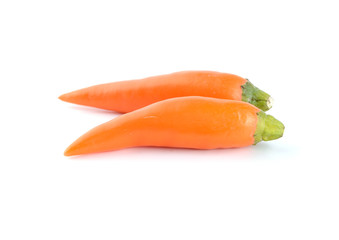 Orange chili pepper isolate on white background