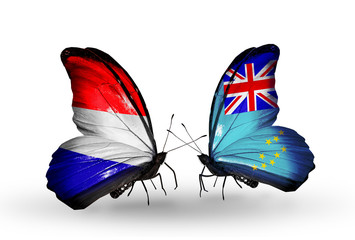 Two butterflies with flags Holland and Tuvalu