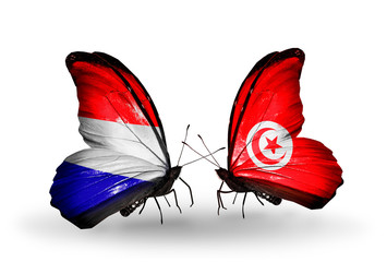 Two butterflies with flags Holland and Tunisia