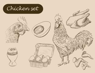 chicken set. handmade sketches