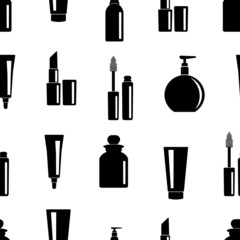 Seamless pattern of toiletries icons