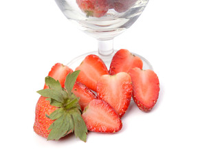 strawberry in glass ioslated on white background