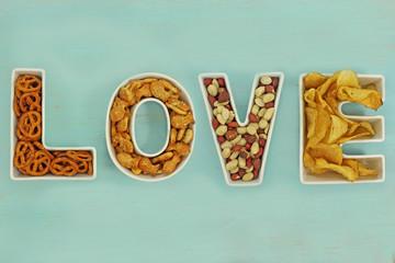Love snacks in Love letter bowls