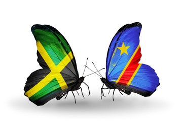 Two butterflies with flags Jamaica and Kongo