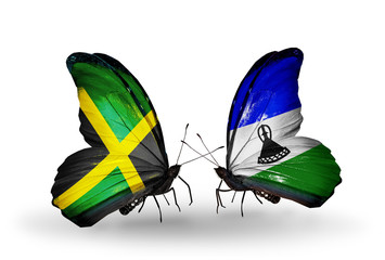 Two butterflies with flags Jamaica and Lesotho