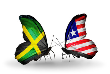 Two butterflies with flags Jamaica and Liberia