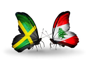 Two butterflies with flags Jamaica and Lebanon