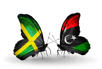 Two butterflies with flags Jamaica and Libya