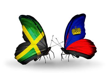 Two butterflies with flags Jamaica and Liechtenstein