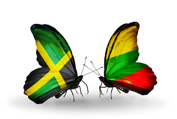Two butterflies with flags Jamaica and Lithuania