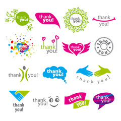 big set of vector logos thank you