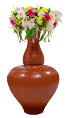 flower in vase isolated with clipping path