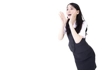 白バック 金融系OL 応援するポーズと笑顔
