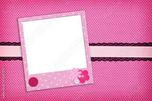 Fotobehang Stof Photo frame on pink polka dot background