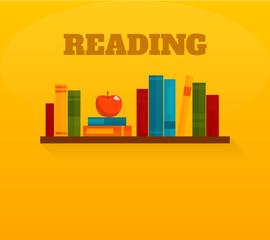 Reading books flat icon