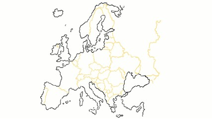 europe map hand draw with country