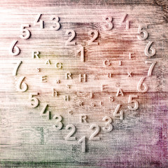 Heart of the numbers on wooden background