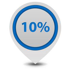 Ten percent pointer icon on white background