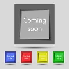 Coming soon sign icon. Promotion announcement