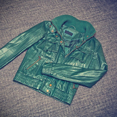 Women's leather jacket green. Vintage style
