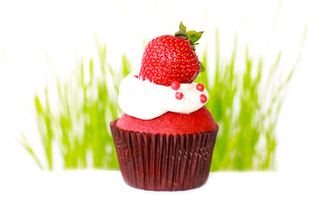 Cupcake with strawberry - Stock Image