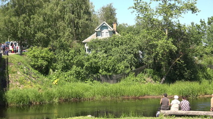 Russian wooden house in thickets. 4K.