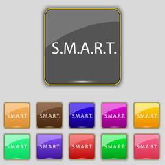 Smart  sign icon. Press button. Set of colored button
