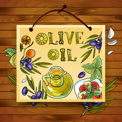 hand-draw beautiful poster olive oil