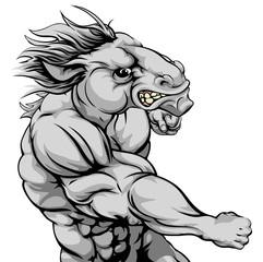 Horse mascot fighting
