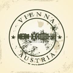 Grunge rubber stamp with Vienna, Austria