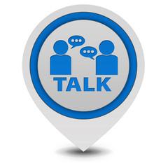 Talk pointer icon on white background
