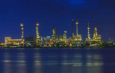 beautiful landscape of oil refinery plant lighting in industry e