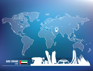 Map pin with Abu Dhabi skyline
