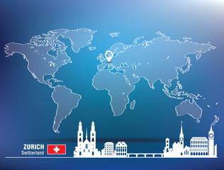 Map pin with Zurich skyline