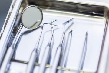 Set Of Metal Dentist's Medical Equipment