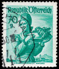 Stamp printed in Austria, shows a woman from Lower Austria, Wach