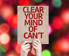 Clear Your Mind of Can't card with colorful background