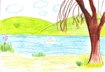 Child drawing of the paper boat
