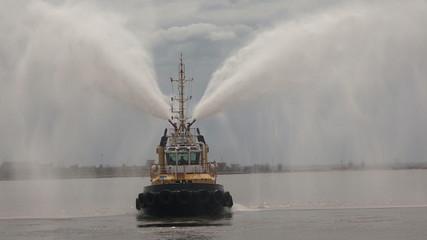 Fire boat. Hose. 4K.