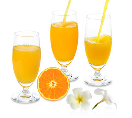 orange juice and slice orange isolated on white