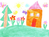 Fototapety Child drawing of a house