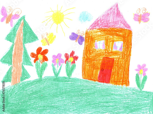 Child drawing of a house - 76371838