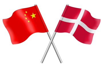 Flags: China and Denmark