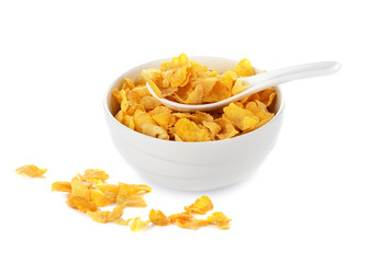 cornflakes in white bowl isolated on white