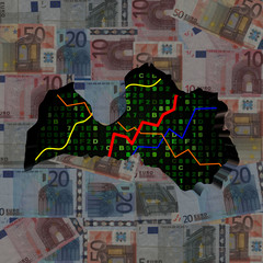 Latvia map with hex code and graphs on euros illustration